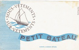 """Buvard """" PETIT BATEAU """" Sous Vêtments,sur Vêtements ...... - Buvards, Protège-cahiers Illustrés"""