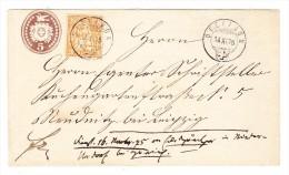 Schweiz Dietikon 14.11.1875 Tüblibrief 5Rp. Mit 20Rp. Sitzende Zusatz Nach Leipzig - 1862-1881 Helvetia Assise (dentelés)