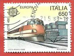 ITALIA REPUBBLICA USATO - 1988 - Europa - 33ª Emissione - Elettrotreno ETR450 - £ 650 - S. 1828 - 6. 1946-.. Repubblica