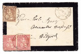 Schweiz 25.3.1878 Lauterbrunnen Mit 5Rp Und Waag. Paar 10Rp. Sitzende Auf Trauerbrief - 1862-1881 Helvetia Assise (dentelés)