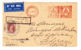 """Indien 30.4.1940 Bombay Flugpost Brief Mit Freimarken Mit Zusatz Nach Teheran Vermerk """"Not Opened By Censor"""" - Inde (...-1947)"""