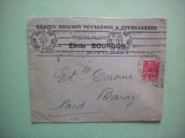 MONTLHERY EMILE BOURDON GRAINS GRAINES POTAGERES & FOURRAGERES 33 PLACE DU MARCHE ENVELOPPE DU 11 JUIL 31 - 1900 – 1949