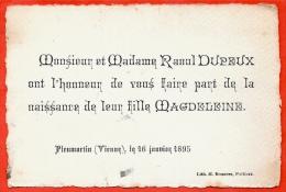 86 PLEUMARTIN Vienne - Faire-part De Naissance De Magdeleine DUPEUX 1895 - Nascita & Battesimo
