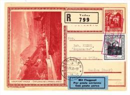Liechtenstein Ganzsache 31.8.1930 Vaduz-St Gallen Flug Einschreiben Nach Genf Mit AK Und Transit Stempel - Entiers Postaux