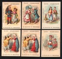 9 Chromos - Épicerie SATABIN-FLEURY - Graines Et Légumes Secs - Spécialité De Cafés - Charleville - Costumes - Éventail - Kaufmanns- Und Zigarettenbilder