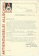 FAKTURA, RECHNUNG, INVOICE  --  A.G. AZA,  --  AKTIENZIEGELEI ALLSCHWIL  --  1935 - Schweiz