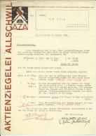 FAKTURA, RECHNUNG, INVOICE  --  A.G. AZA,  --  AKTIENZIEGELEI ALLSCHWIL  --  1931 - Schweiz