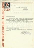 FAKTURA, RECHNUNG, INVOICE  --  A.G. AZA,  --  AKTIENZIEGELEI ALLSCHWIL  --  1933 - Schweiz