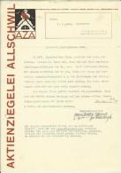 FAKTURA, RECHNUNG, INVOICE  --  A.G. AZA,  --  AKTIENZIEGELEI ALLSCHWIL  --  1929 - Schweiz