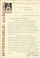 FAKTURA, RECHNUNG, INVOICE  --  A.G. AZA,  --  AKTIENZIEGELEI ALLSCHWIL  --  1928 - Schweiz