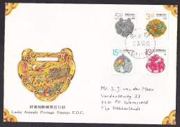 Taiwan: FDC First Day Cover To Netherlands, 1993, 4 Stamps, Lucky Animals, Symbols (traces Of Use) - 1945-... Republiek China