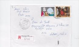 STAMPS- TIMBRES- LETTRE RECOMMANDÉ- PORTUGAL -500 ANS NAISSANCE DE JOÃO DE BARROS ET PEINTURE ST. PIERRE, PAUL ET  ANDRÉ - 1910-... République