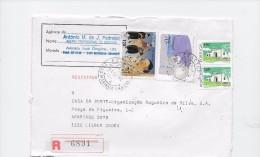 STAMPS- TIMBRES- LETTRE RECOMMANDÉ- PORTUGAL -ARRIVÉE DU PORTUGAIS AU JAPON - INTRUMENT  NÁUTIQUE (QUADRANTE) - 1910-... République
