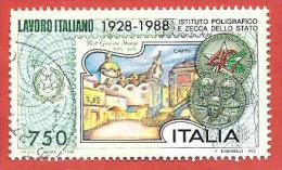 ITALIA REPUBBLICA USATO - 1988 - Lavoro Italiano 2ª Emissione Istituto Poligrafico Zecca Dello Stato - £ 750 - S. 1848 - 6. 1946-.. Repubblica