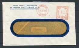 1938 GB Swiss Bank Corporation Metermark Franking Machine Cover - 1902-1951 (Kings)