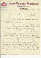 FACTURA, RECHNUNG   --  JURA - CEMENT - FABRIKEN, AARAU  --  1899 - Schweiz