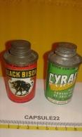 Lot De 2 Petits Bidons (H:75mm Et Diametre: 37mm) Bouchon à Visser - BLACK BISON Et CYRALINO Polish Et Entretien Parquet - Boxes