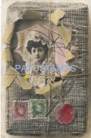 30402 SPAIN ESPAÑA REAL PHOTO WOMAN WITH UMBRELLA & STAMPS BREAK POSTAL POSTCARD - Spanien