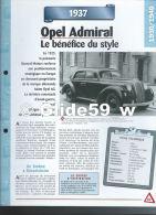 Fiche Opel Admiral(1937) - Un Siècle D'Automobiles (Edit. Hachette) - Voitures