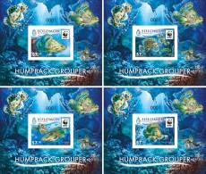 SOLOMON Isl. 2015 - WWF Humpback Grouper, Set Of 4 Deluxe Sheets - W.W.F.