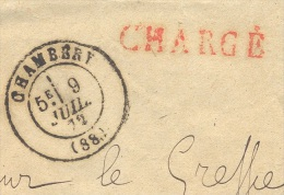 SAVOIE CHAMBERY Enveloppe Chargée Tad 17 Du 9 Juillet 1872 40 C Empire Et Deux 25 C Cères (un Def Avec  2 Trous) TTB - Postmark Collection (Covers)