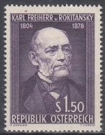 Österreich MiNr. 997 ** 150. Geburtstag Von Karl Freiherr Von Rokitansky - 1945-.... 2. Republik