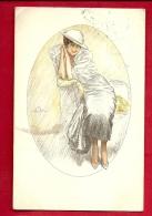 PBE-16 Illustratore Illustrateur Jeune Femme Mode Donna   Verificato Per Censura Militare 1918 - 1900-1949