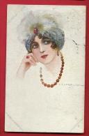 PBE-18 Illustratore Illustrateur Corbella Jeune Femme Avec Collier Mode Donna   Verificato Per Censura Militare 1918 - Corbella, T.