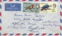 Timbres Surchargés SELF GOVERNMENT 1967 Pour St Jean Cap Ferrat Réexpédiée à Neuilly 1968 - Mauritius (1968-...)