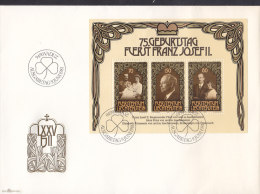 LIECHTENSTEIN Block 11, FDC, 75. Geburtstag Franz Josef II. 1981 - Blocs & Feuillets