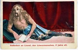 AK CIRCUS ZIRKUS ,ANDENKEN AN LIONEL ,DEN LÖWENMENSCHEN ,17 JAHRE ALT. Haarige Frauen,hairy WOMEN,gefalte Ansichtskarten - Zirkus