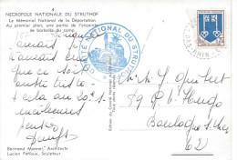 NATZWEILER BAs RHIN 1957 Cachet Rond Perlé Cachet COMITE NATIONAL DU STRUTHOF Camp De Concentration 2e Guerre Mondiale - Marcophilie (Lettres)