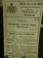 ITINERAIRE TCB N°72 BRUXELLES, LOUVAIN, DIEST, WESTERLOO - Cartes