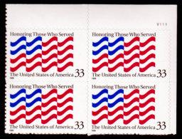 USA, 1999, Honoring Those Who Served, Scott #3331,  PB/UR, MNH, VF - Neufs