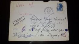LETTRE FRANCE 1984 POUR COTE D'IVOIRE ABIDJAN RETOUR A L'ENVOYER AVEC PLUSIER OBLIT. (VOIR 2 SCAN) - 1982-90 Vrijheid Van Gandon