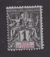 Ivory Coast, Scott #1, Mint No Gum, Navigation And Commerce, Issued 1892 - Ivory Coast (1892-1944)