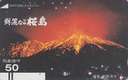 Télécarte Ancienne Japon / 110-6086 - VOLCAN - VULCAN Japan Front Bar Phonecard / B - VULKAN Balken Telefonkarte - Volcanos