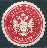 Austria-Hungary Österreich-Ungarn GALATZ Galati Romania KONSULAT Consular Letter Seal Siegelmarke Vignette - Autres