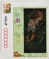 Tiger,China 2011 Guangzhou Zoo Lovely Hosts Animal Advertising Pre-stamped Card - Big Cats (cats Of Prey)