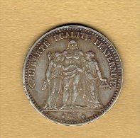 5 Francs Hercule 1876 A - J. 5 Francs