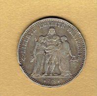 5 Francs Hercule 1875 A - J. 5 Francs