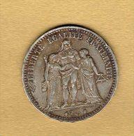 5 Francs Hercule 1874 A - J. 5 Francs