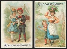 2 Chromos Chocolat Louit - Scènes Villageoises - Louit