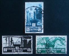 COLONIE ITALIENNE - SERIE COURANTE 1933 - OBLITERES - YT 196 + 199 + 201 - MI 205 + 208 + 210 - Erythrée