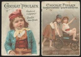 2 Chromos Chocolat Poulain - Enfants: Fillettes & Chariot / Jeune Garçon - Poulain