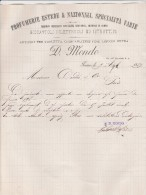 Lettre 1889 D MONDO Profumerie Estere & Nazionali, Specialita Varie TORINO - Italie
