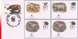 WWF Jakarta 4 FDC  Rhinocéros - Rhinozerosse