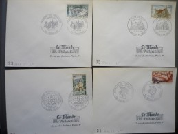 4 FDC 1969 Sites Et Monuments : Chateau De Chantilly / Eglise De Brou/ Barrage De Vouglans / Chalons Sur Marne - 1960-1969