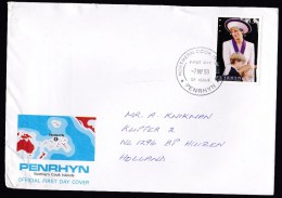 Penrhyn: FDC First Day Cover To Netherlands, 1998, 1 Stamp, Princess Diana, Lady Di, Royalty (minor Creases) - Penrhyn