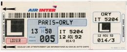 Air Inter Carte D'accès à Bord Boarding Pass Paris Orly - Cartes D'embarquement